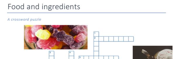 Food and ingredients crossword