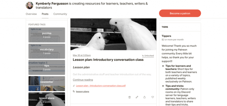 Teaching and language learning resources on Patreon