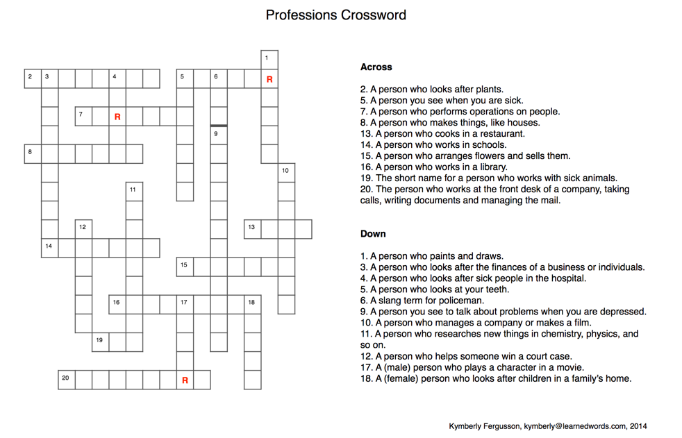 Professions crossword